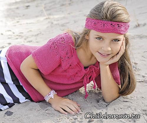 Джемпер со шнуровкой на кокетке для девочки