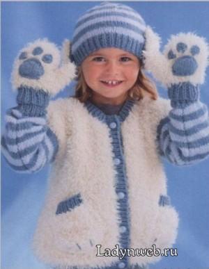 Комплект для мальчика мишка: жакет, шапочка и варежки