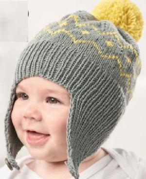 Детская шапочка с ушками на пуговице, с помпоном