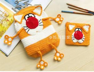 Детская сумка кот и кошелек кот крючком