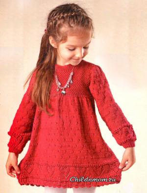 Красное платье с сердечками для девочки