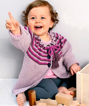 Кофта с полосатой кокеткой для малышки